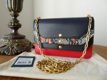 Mulberry Multiflap Shoulder Clutch in Midnight, Multi Snakeskin, Fiery Red and Black Smooth Calf - SOLD