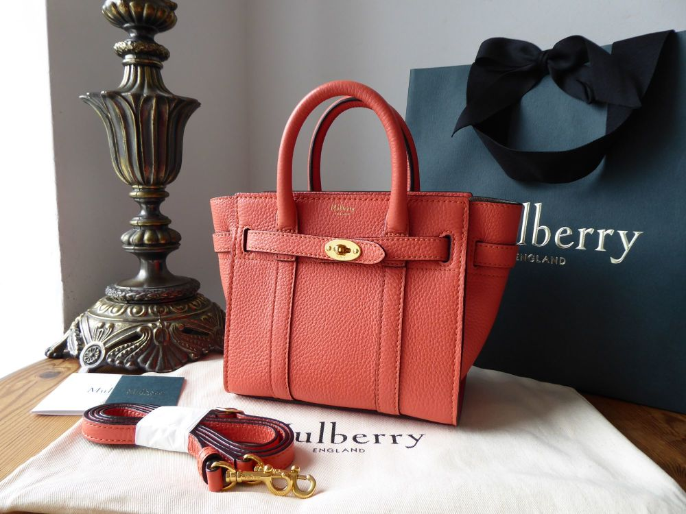 Mulberry Micro Zipped Bayswater in Coral Rose Small Classic Grain - As New
