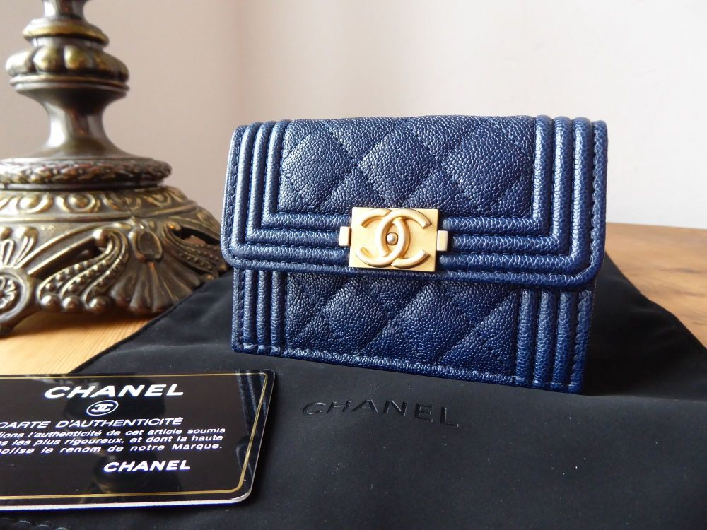 Chanel Boy Small Flap Wallet in Navy Blue Grained Calfskin