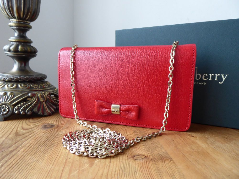 Mulberry Bow Shoulder Clutch Wallet on Chain in Poppy Red Shiny Goat Leathe