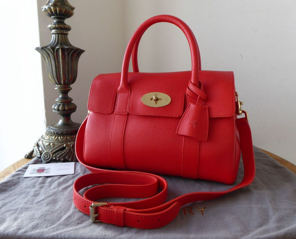 Mulberry Classic Small Bayswater Satchel in Fiery Red Small Classic Grain -