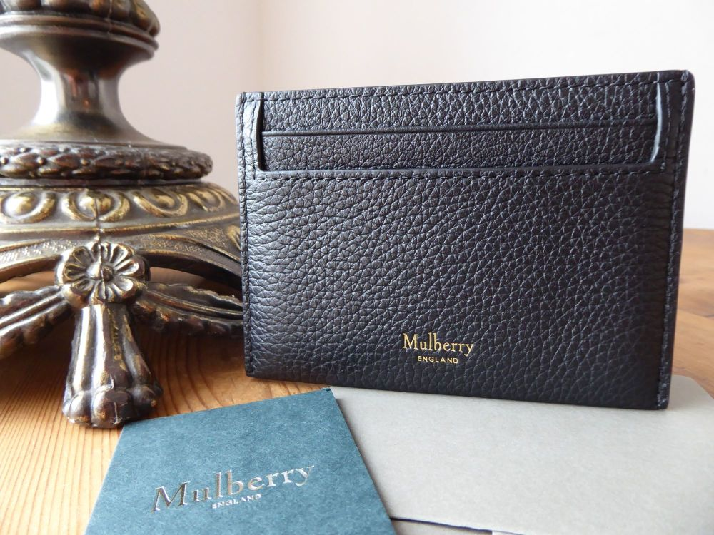 Mulberry Heritage Credit Card Slip Holder in Black Small Classic Grain - As