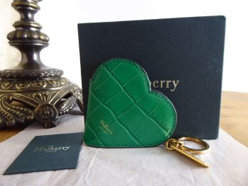 Mulberry Heart Portrait Keyring Bag Charm in Emerald Green Shiny Croc Embossed Calfskin (Sub) - SOLD