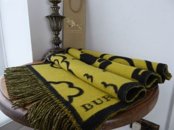Burberry London Street Art Winter Scarf Wrap in Larch Yellow Wool Cashmere Mix - SOLD