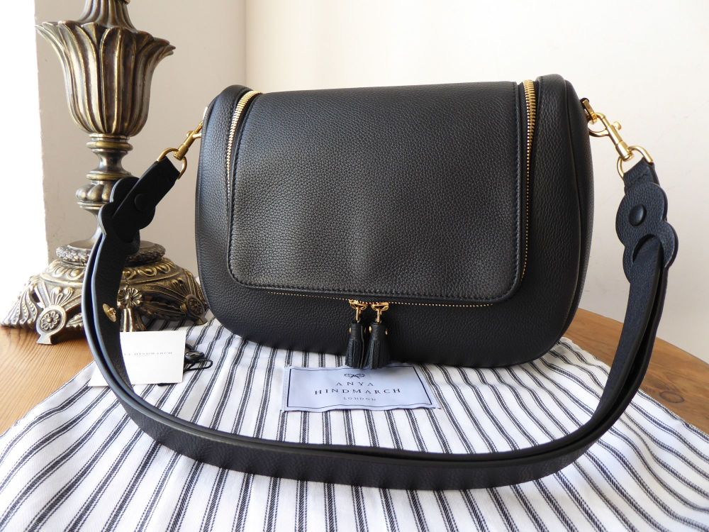 Anya Hindmarch Vere Soft Medium Satchel in Black Mini Grain Leather - As Ne