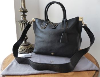 Mulberry Alice Small Zipped Tote in Black Small Classic Grain Leather with Long Strap - SOLD