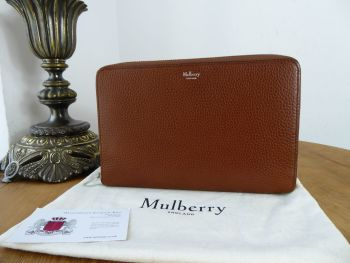 Mulberry Large Zip Around Travel Wallet in Oak Grained Vegetable Tanned Leather - SOLD