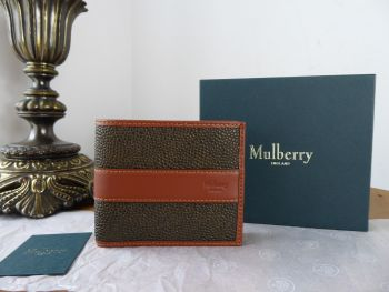 Mulberry Men's 8 Card Folded Wallet in Mole Scotchgrain and Cognac Calfskin - New