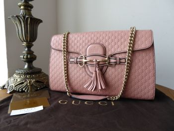 Gucci Emily Medium Shoulder Bag in Blush Pink GG Micro Guccissima Embossed Calfskin - New