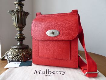Mulberry Small Antony in Hibiscus Red Small Classic Grain Leather  - New*