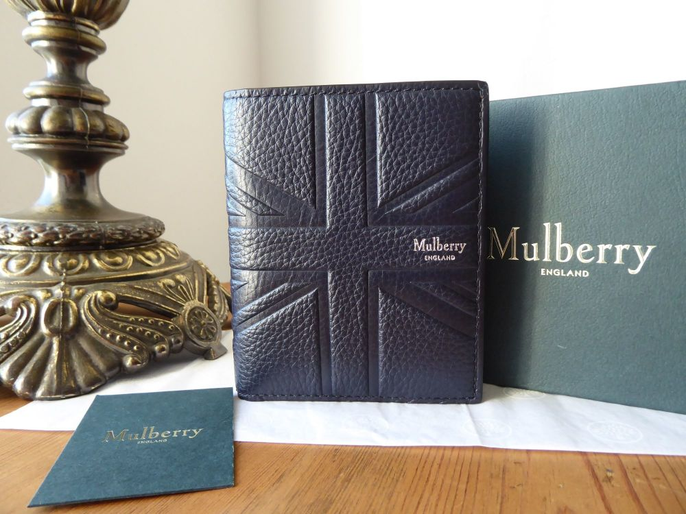 Mulberry Union Jack Flag Embossed Mens Trifold Wallet in Midnight Small Cla