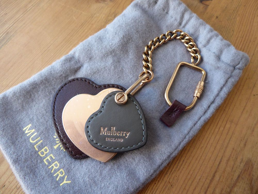 Mulberry Heart Leather Keyring Bag Charm in Rose Gold, Oxblood & Dark Clay