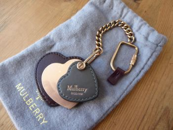 Mulberry Heart Leather Keyring Bag Charm in Rose Gold, Oxblood & Dark Clay - New*