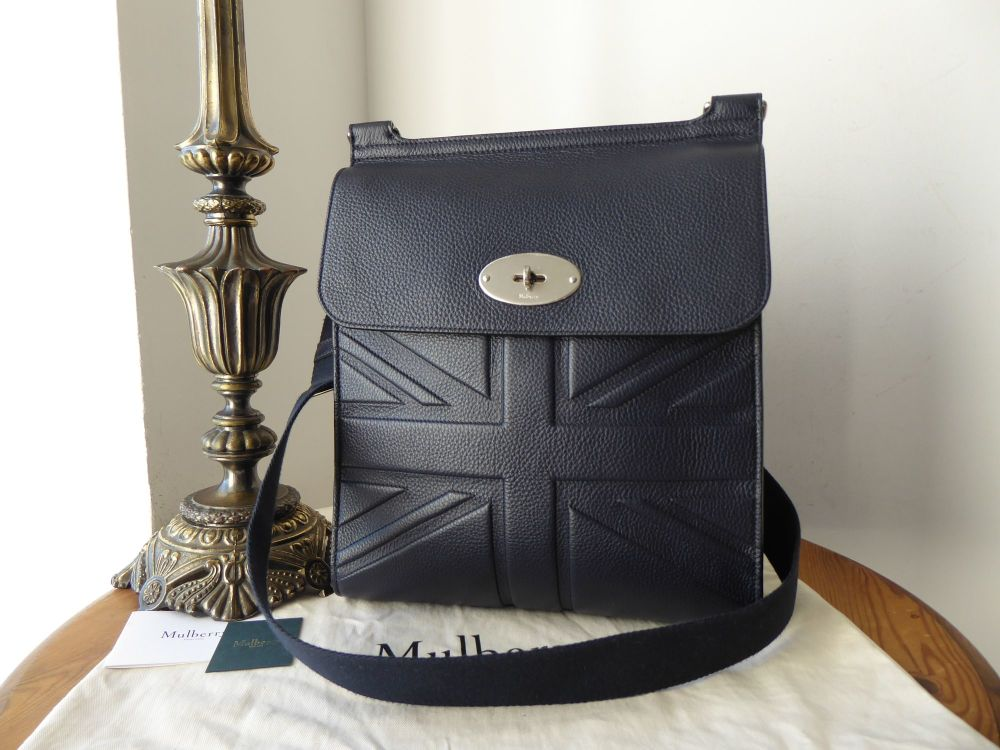 Mulberry New Antony Large Messenger in Union Jack Flag Embossed Midnight Sm