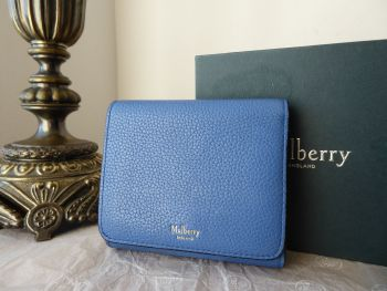 Mulberry Trifold Wallet Purse in Porcelain Blue Small Classic Grain