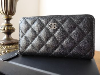 Chanel Medium Zip Around Wallet Purse in Iridescent Black Caviar with Shiny Silver Ruthenium Hardware