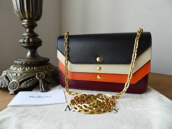 Mulberry Multiflap Wallet on Chain Shoulder Bag in Colour Block Smooth Calf