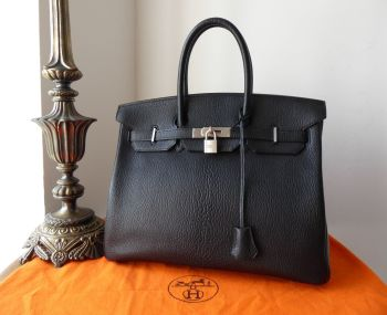 Hermés Birkin 35cm Black Chèvre de Coromandel with Brushed Palladium Hardware