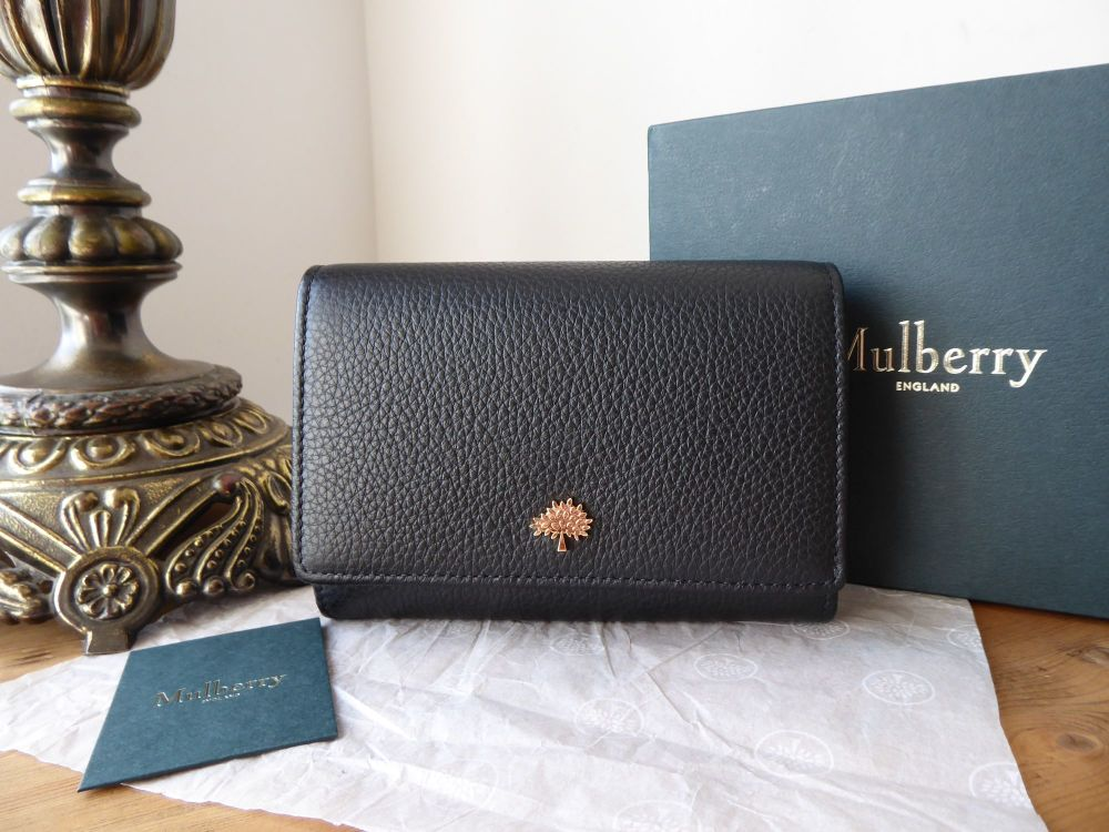 Mulberry Tree French Medium Purse Wallet in Black Small Classic Grain - New