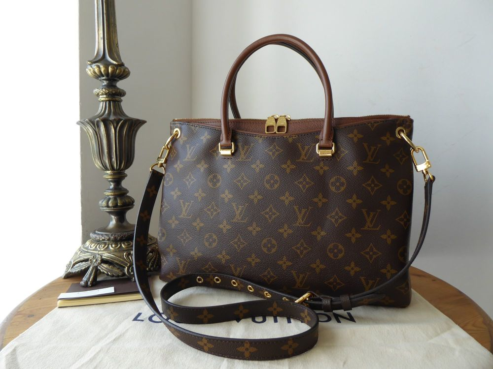 Louis Vuitton Pallas MM Tote in Monogram and Noisette Taurillion