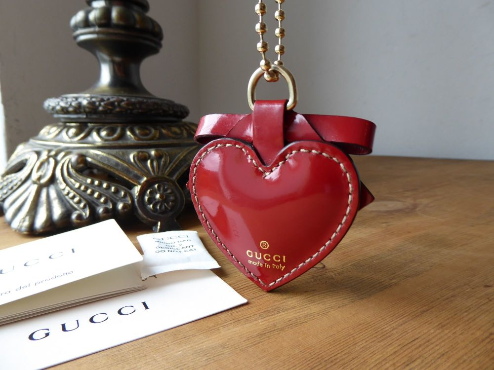 Gucci Heart Bag Charm in Red Spazzalato Leather