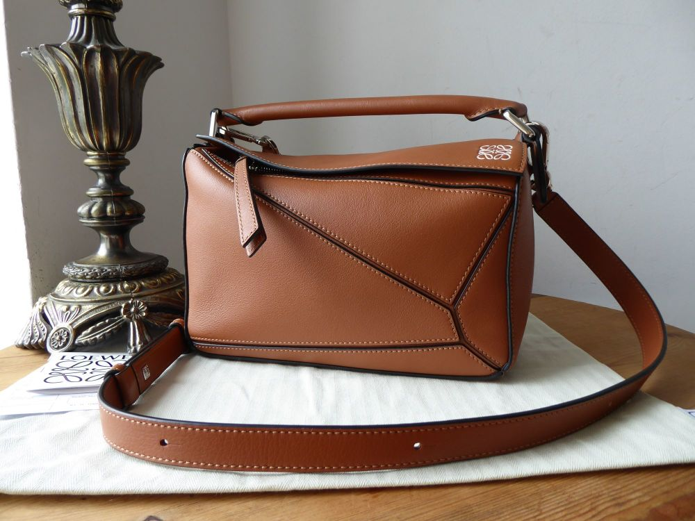 LOEWE Small Puzzle Bag in Tan Calfskin with Palladium Silver Hardware - As
