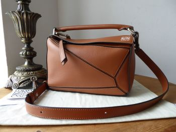 LOEWE Small Puzzle Bag in Tan Calfskin with Palladium Silver Hardware - As New*