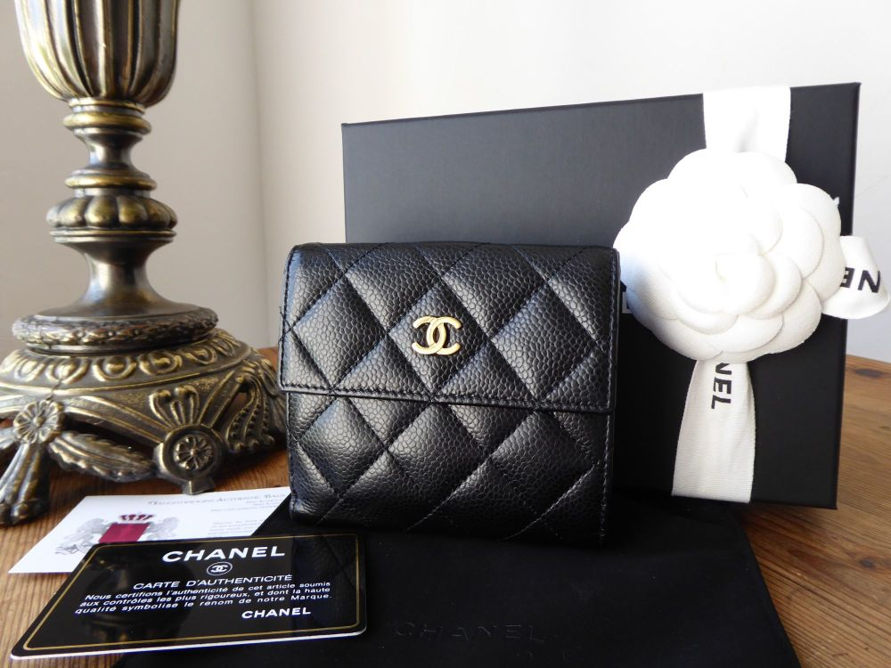 Chanel Classic Bifold Wallet in Quilted Black Caviar with Gold Hardware