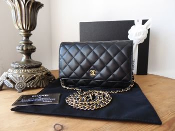 Chanel Classic WOC Wallet on Chain in Black Lambskin with Gold Hardware