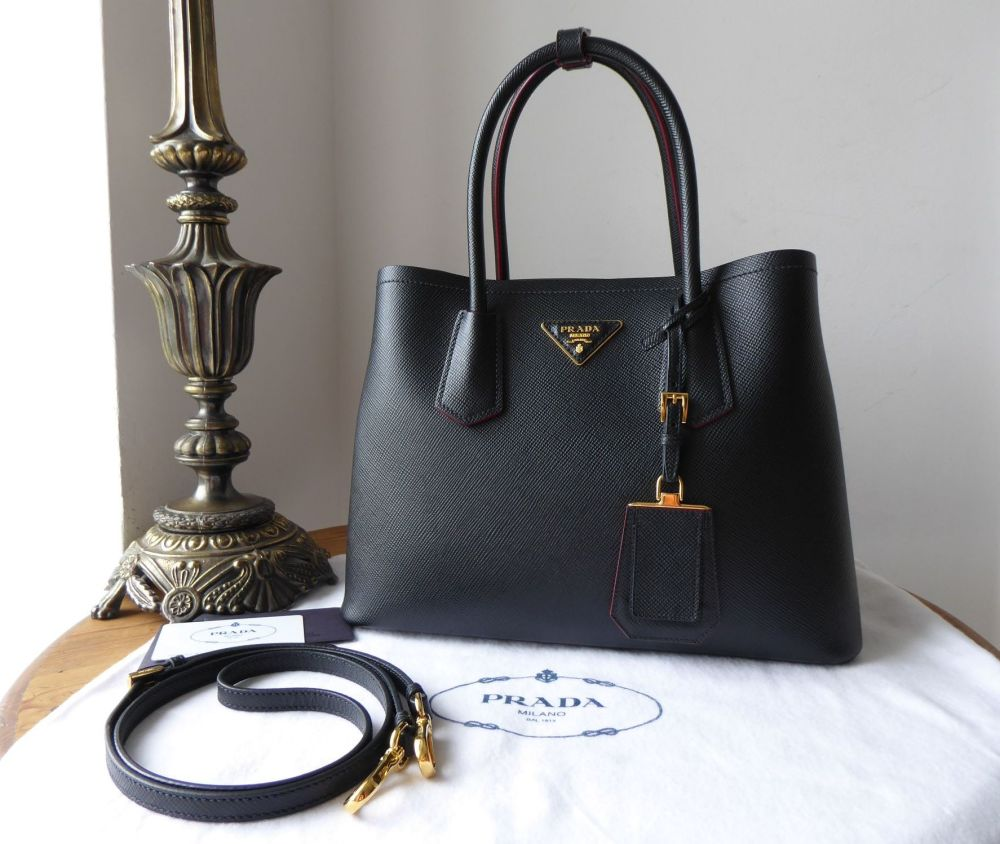 Prada Double Small Bag in Black Saffiano Cuir Calfskin with Red Nappa Inter