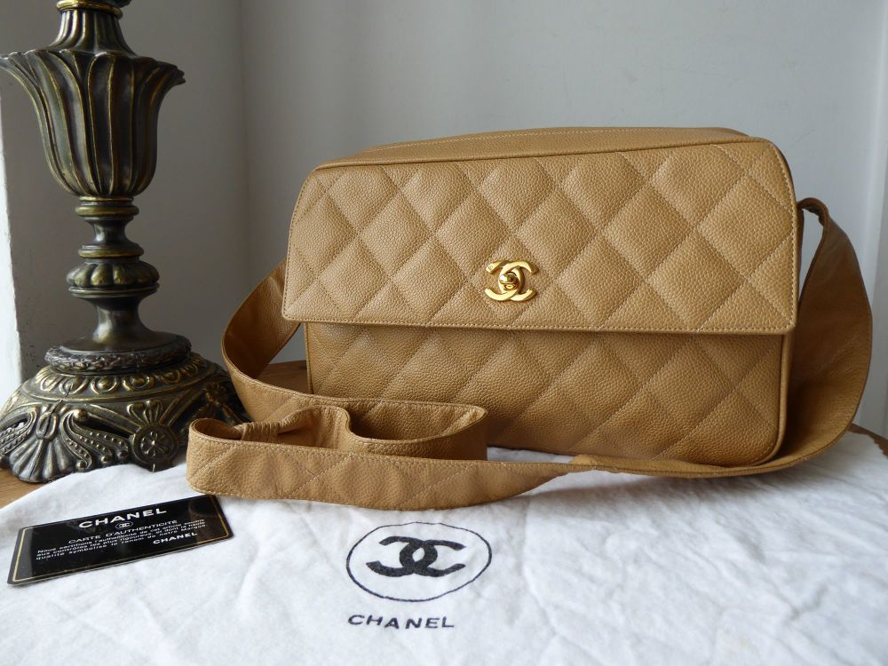 Chanel Classic Vintage Camera Bag in Beige Quilted Caviar Leather