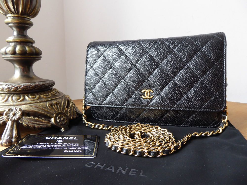Chanel Classic WOC Wallet on Chain in Black Caviar with Gold Hardware