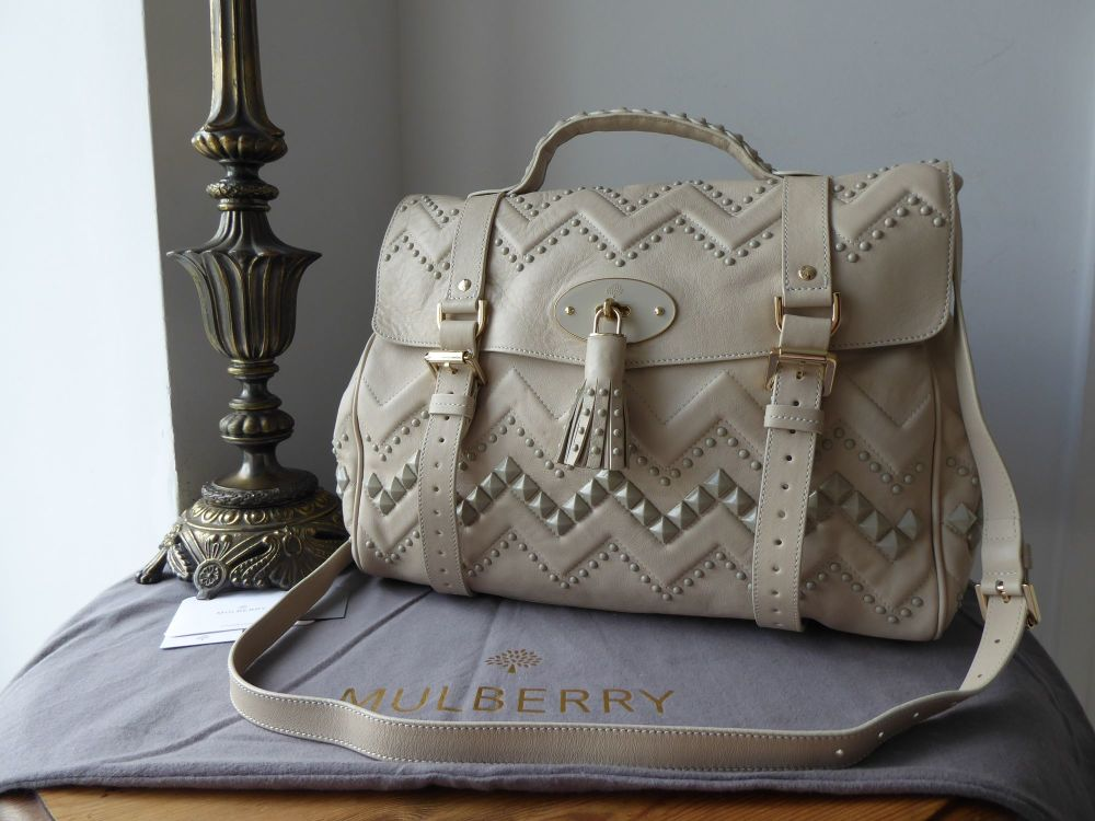 Mulberry Oversized Alexa Satchel with ZigZag Rivets in Snowball White Smoot