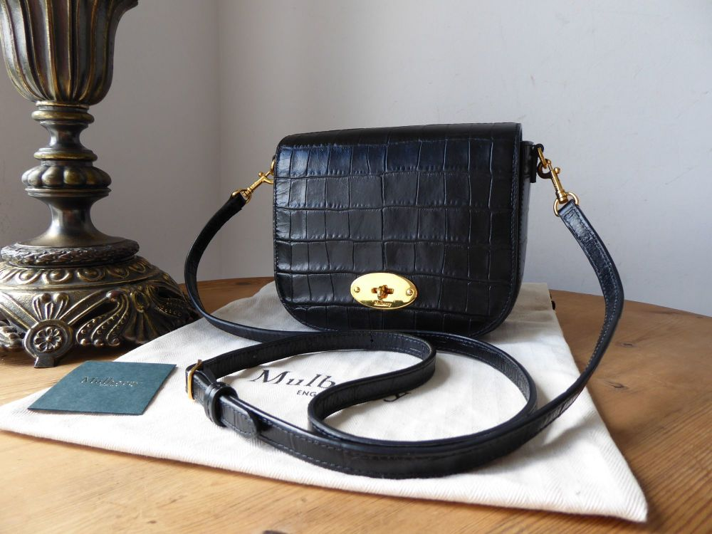 Mulberry Small Darley Satchel in Black Shiny Croc Embossed Nappa
