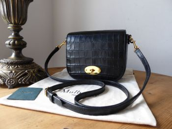 Mulberry Small Darley Satchel in Black Croc Embossed Nappa