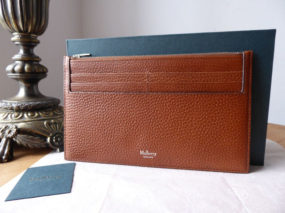 Mulberry Travel Card Holder in Oak Grain Vegetable Tanned Leather - New*