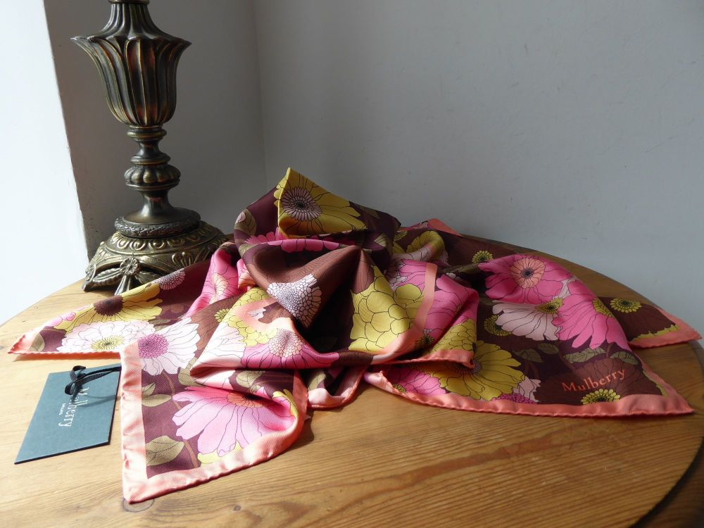 Mulberry Daisies Flower Double Square Silk Scarf - New*