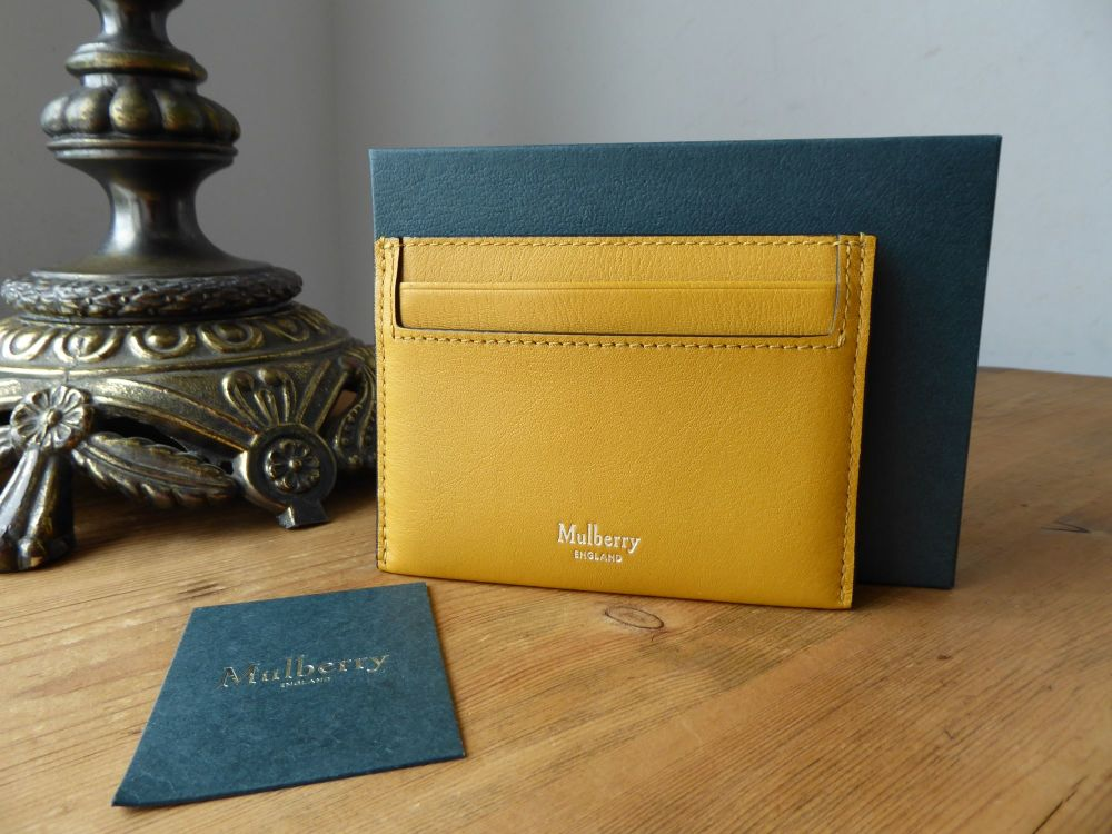 Mulberry Credit Card Slip Holder in Gold Ochre Silky Calf New