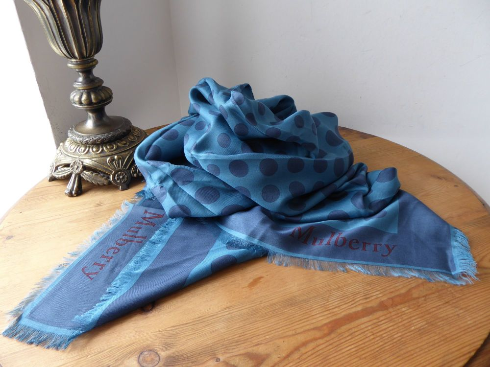 Mulberry Mirror Square Scarf Wrap in Metal Blue Silk Viscose Mix - New