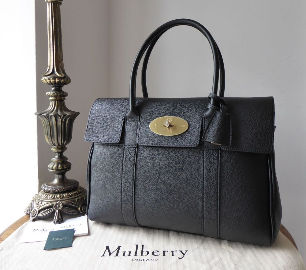 Mulberry Bayswater in Black Small Classic Grain with Brass Hardware - New