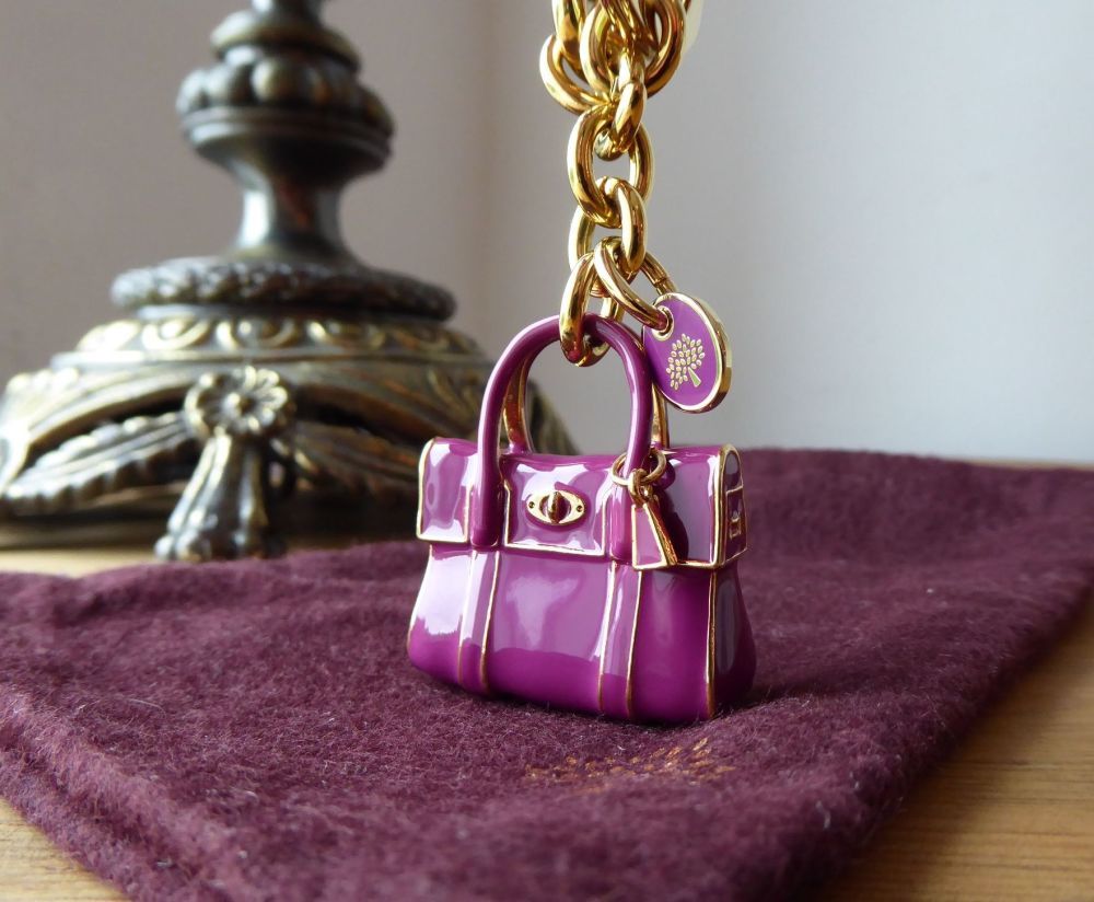 Mulberry Mini Bayswater Keyring Bag Charm in Cerise Enamel with Gold Tone H