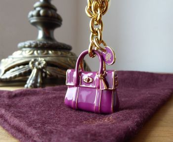 Mulberry Mini Bayswater Keyring Bag Charm in Cerise Enamel with Gold Tone Hardware