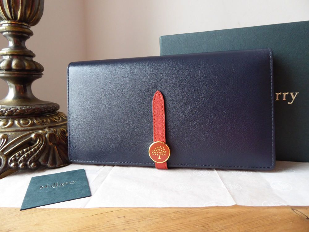 Mulberry Tree Tab Long Folded Continental Wallet Purse in Midnight Cross Gr