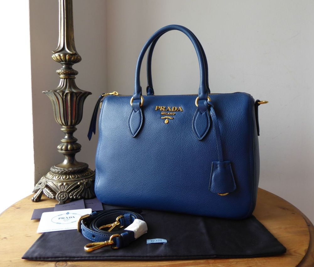 Prada Bauletto in Bluette Royal Blue Vitello Phenix Leather New - New