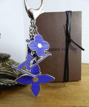 Louis Vuitton Fleur d'Epi Flower Keychain Bag Charm in Figue with Palladium Silver Hardware