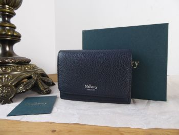 Mulberry Continental Card Holder Multicards Wallet in Midnight Small Classic Grain - New