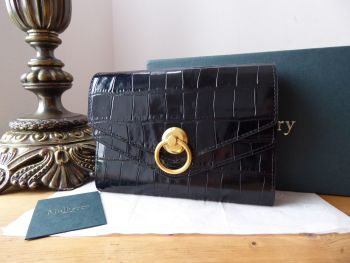 Mulberry Harlow Medium Purse Wallet in Black Shiny Croc Embossed Leather - New