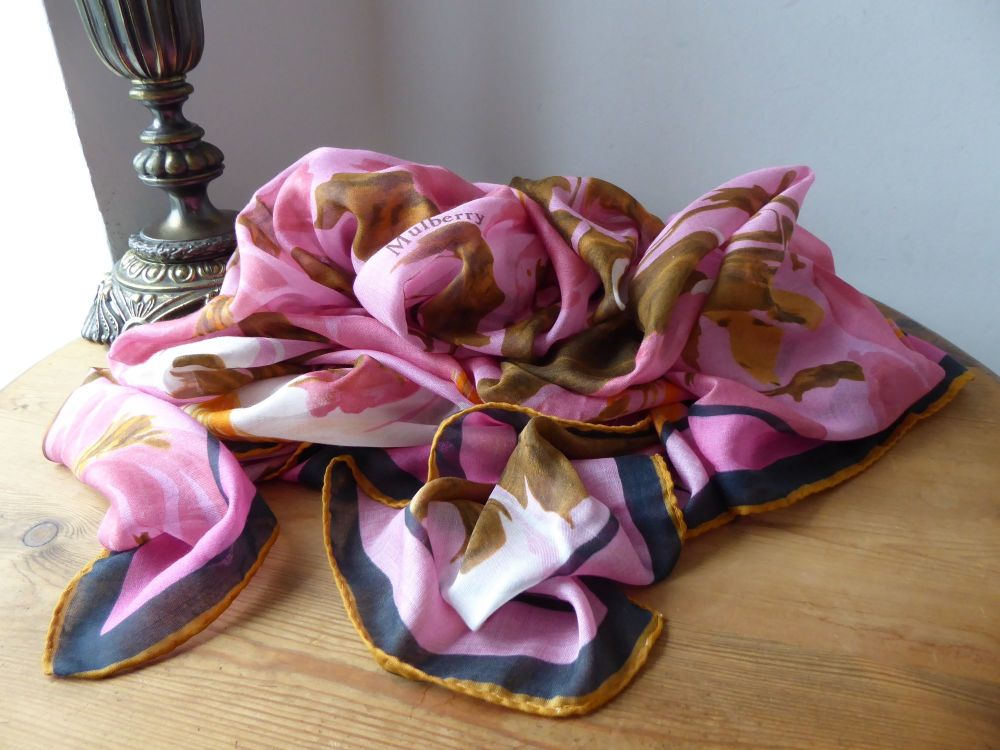 Mulberry Blossom Square Scarf Wrap in Sorbet Pink Modal & Silk Mix - New