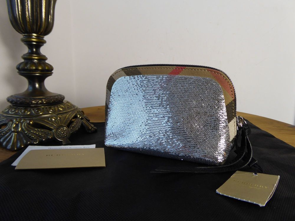Burberry House Check Zip Pouch Clutch with Silver Metallic Sequins - New