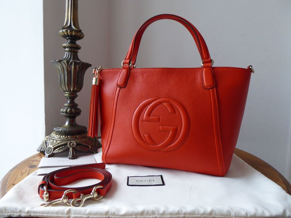 Gucci Soho Cellarius Small Tote in Orange Pebbled Calfskin